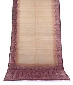 Vintage Marron Saree Résumé Imprimé Pure Soie Tissu Sari Indien Sarong Artisanat