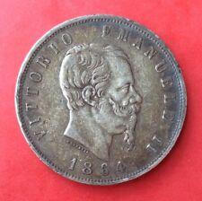 Italie - Vit.Emanuele II - Rare et Jolie  monnaie de 5 Lires 1864 Napoli