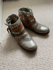 A.S.98 Airstep Gold Ankle Boots, Size 42 (8), Hardly Worn, PROCEEDS TO CHARITY