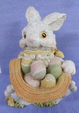 Rabbit & Me w/ basket of Easter eggs 8'' figure decor display house ,garden IOB