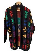 Black Aztec Yellowstone Cardigan Sweater Vintage Duster Large Womens