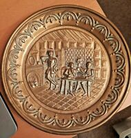 """Vintage Embossed """"Bas Relief"""" Brass Wall Hanging Medieval Pub Scene 25cms"""