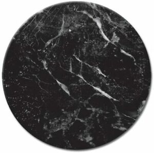 Glass Lazy Susan Serving Plate with Black Marble Design