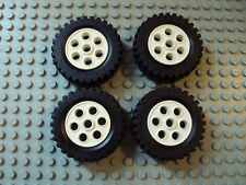 Lego Minifig  ~ Lot Of 4 Technic Tires w/White Wheels / Rim 13x24 Hard Rubber