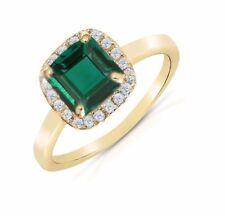 Natural Green Emerald & Diamond Cushion cut Halo Engagement 14k Yellow Ring