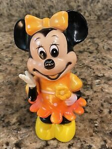Vintage Disney Minnie Mouse Piggy Bank Plastic no Stopper Made In KOREA