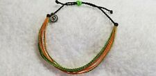 Pura vida Green and Orange multi color bracelet silver charm