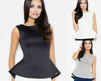 High Quality Scuba Top Peplum Top by FASHION BY DUDA in Black White Grey (352)