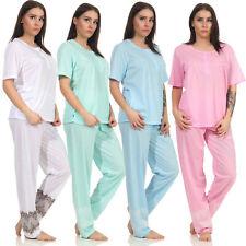 Damen Sommer Pyjama-Set Shirt + Hose 2-teiliger Schlafanzug Hausanzug