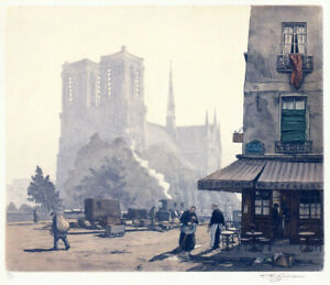 Original T.F. Simon etching, Notre Dame Paris in the Morning, pencil signed