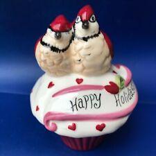 Blue Sky Heather Goldminic 'Cardinals.Happy Holidays' trinket box cupcake