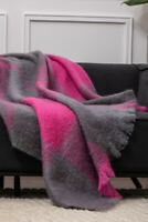 Foxford Super Soft Gray & Pink Mohair Blanket Throw 4257/a1 - Made in Ireland