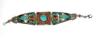 Koralle, Türkis, Lapis Edelstein Sterling Silber tibetischen Schmuck Armbänder oliu 7