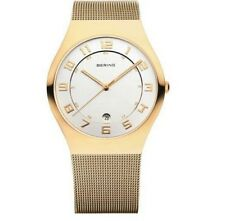 Unisex Bering Classic Polished Gold Mesh Band Watch 11937 334