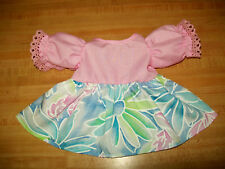 "16"" CPK Cabbage Patch Kids DRESS  LT PINK BODICE W/ CROCHETED LACE+ FLOWER SKIRT"