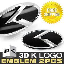 3D K Logo Front Grille + Rear Trunk Black Emblem Badge For KIA 2011-15 Optima K5