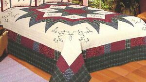 MORNING STAR 1pc King QUILT : FARMHOUSE STARBURST RED IVORY GREEN PLAID FLORAL