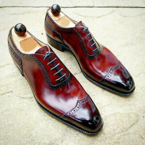 Handmade Maroon Patent Wingtip Lace Up Real Leather Men Oxford Formal Shoes 7-16