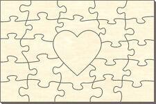 Blanko Holz-Puzzle Rechteck mit Herz, 25 Teile, 60x40 cm, zum Selbst Bemalen