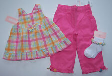 NWT By the Seashore 12-18 Months Plaid Swing Tank Top Pink Pants & Ruffle Socks