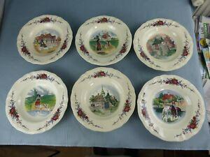 SARREGUEMINES Obernai Loux lot de 6 assiettes à soupes différentes 23 cm B
