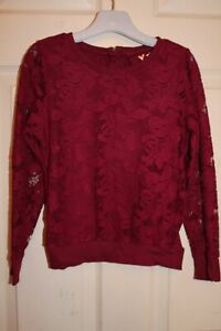 Girls Red Burgundy Lace long sleeve top Age 7-8 years