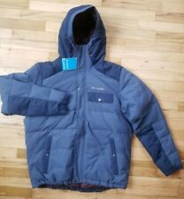 NWT MENS COLUMBIA WINTER CHALLENGER HOODED INSULATED DOWN JACKET BLUE L $199