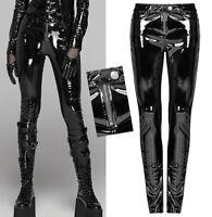 Pantalon slim zippé vinyle cuir vernis gothique punk cyber fétiche sexy PunkRave