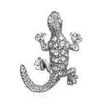 Fashion Crystal Silver Animal Lizard Brooch Pin Wedding Bridal Costume Jewelry