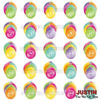 "Pack of 10 (Airfill) 9"" Hanging BALLOONS All Ages 1-100 Party Decorations"