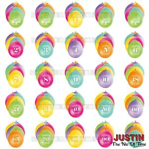 """Pack of 10 (Airfill) 9"""" Hanging BALLOONS All Ages 1-100 Party Decorations"""