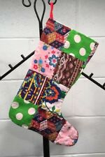 Vintage Crazy Stocking Fabric Mod Flannel Lined Hand Made OOAK Christmas Prop