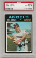1971 TOPPS #657 JOSE AZCUE, PSA 6 EX-MT, HIGH #, CALIFORNIA ANGELS, L@@K