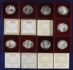 68876) 9x 10 Euro Silber 2003-2008 verschiedene Ausgaben in Originaschatulle PP