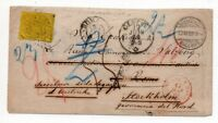 1869 SWITZERLAND TO ITALY COVER, ROMAN STATES STAMP, SENT TO SWEDEN