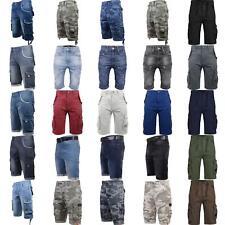 Mens Crosshatch Denim Cargo Shorts Jeans Cargo 3/4 Knee Length - Many Styles