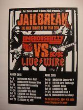 JAILBREAK A5 FLYER 2015--ROCK TRIBUTE TOUR - LIMEHOUSE LIZZY VS LIVE WIRE
