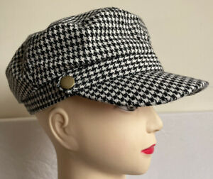 16 BLACK & WHITE DOGTOOTH CHECK CAPS WITH WOOL PEAK HATS - WHOLESALE JOB LOT