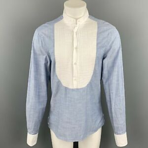 MICHAEL BASTIAN Size L Blue & White Pleated Cotton Long Sleeve Shirt
