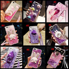 Dynamic Liquid Glitter Quicksand Soft bumper back Phone Case Cover & Lanyard #E