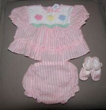 VINTAGE CRADLE TOGS BABY GIRL OUTFIT CLOTHES DRESS 3 PIECE SET PANTIES SHOES 6-9