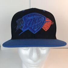 OKC Thunder Cap Hat Mitchell and Ness NBA Snapback Black Blue Orange  Wool Blend