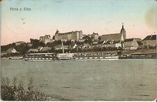 Schiff, Elbe-Dampfer Germania bei Pirna, alte Ak von 1909, Dampfschiffahrt