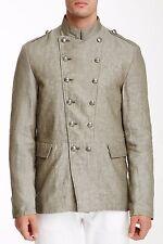 John Varvatos USA Star Mens Jacket Sz L Double Breasted Linen Officer Jacket NWT
