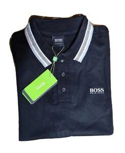 Hugo Boss Men's Pima Cotton 3 Button Polo Shirt Slim Fit Black/White/Gray XL