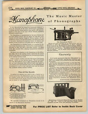 1919 PAPER AD 3 PG Manophone The Music Master Phonograph Record Player