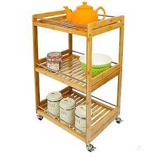 Wooden Kitchen Trolley Bathroom Shelving Storage Unit Towel Hanger Open Cupboard