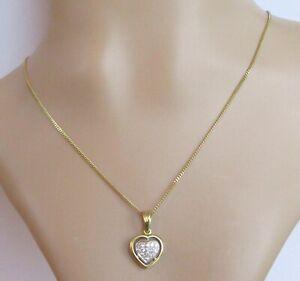 Gold Diamond Necklace - 18ct Gold Diamond Heart Shape Pendant & 18ct Gold Chain