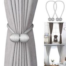 1 Pair Magnetic Ball Curtain Tiebacks Tie Backs Buckle Clips Holdbacks Home Grey