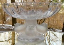 Lalique Crystal Nogent Sparrows Finches Base Footed Compote Bowl France